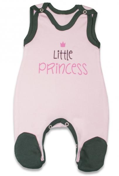 Dojčenské bavlnené dupačky, Malá princezná - růžové, veľ. 62-62 (2-3m)