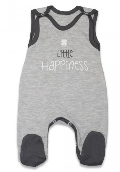 Dojčenské bavlnené dupačky, Malé Šťastie - sivé, veľ. 62-62 (2-3m)