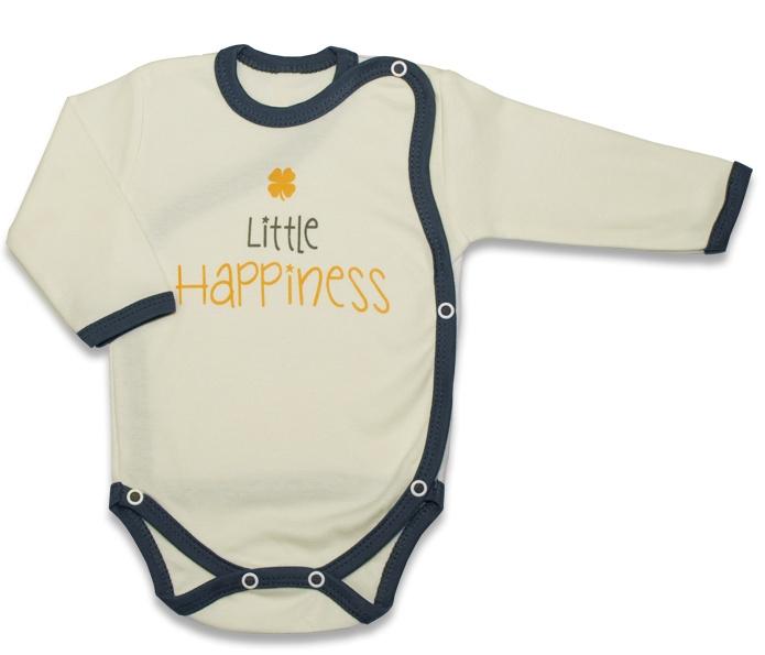 Body dlhý rukáv, zapínanie bokom Malé Šťastie - žlté