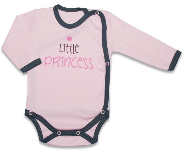 Body dlhý rukáv, zapínanie bokom Malá Princezná - růžové, veľ. 62-62 (2-3m)