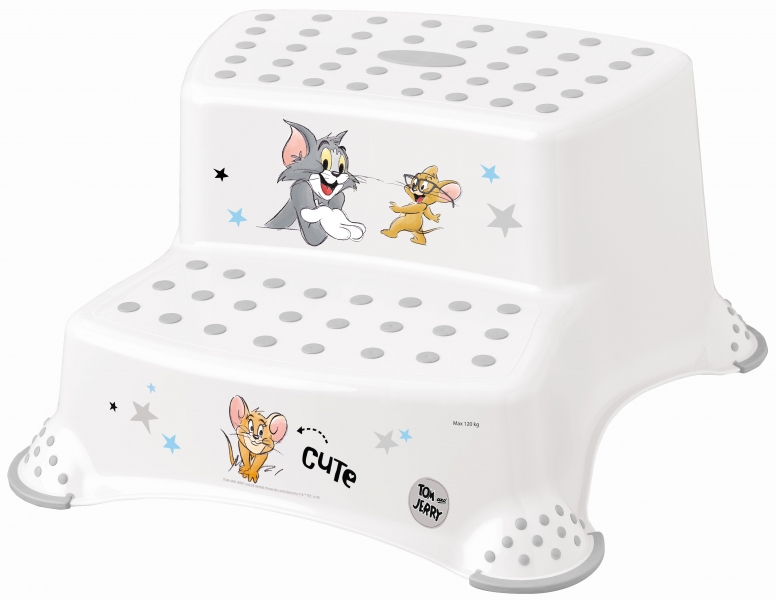 Keeeper Stolička - schodíky s protišmykovou funkciou - Tom a Jerry - biela.