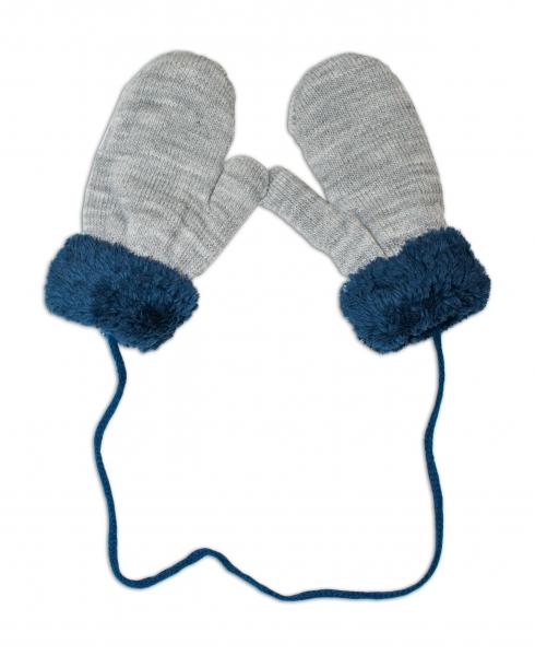 YO !  Zimné detské rukavice s kožušinou - šnúrkou YO - sivé/ granát. kožušina, 12cm