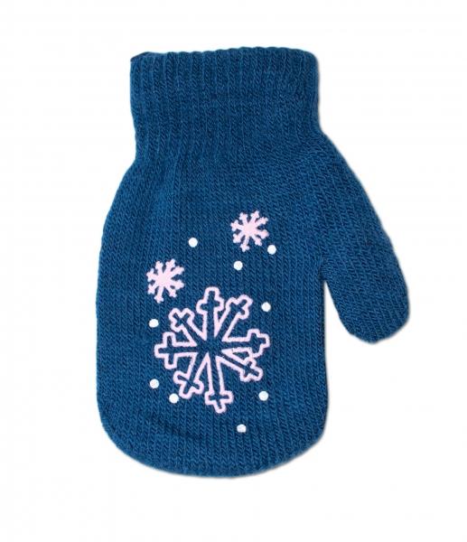 Dojčenské dievčenské akrylové rukavičky YO - tm. modré-12cm rukavičky