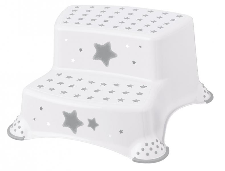 Baby Nellys Stolička - schodíky s protišmykom Baby Star - biele