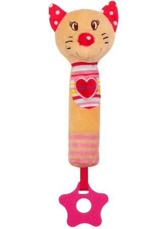 Edukačná hračka pískacia s hryzátkom - Mačička so srdiečkom