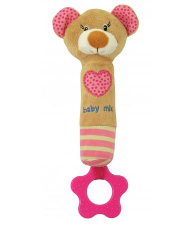 Edukačná hračka pískacia s hryzátkom - Medvedík so srdiečkom