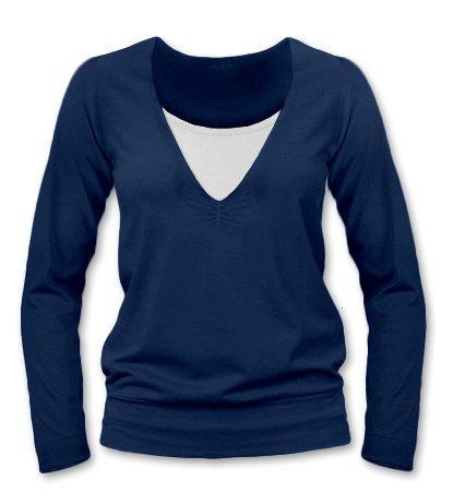 JOŽÁNEK Dojčiace, tehotenské tričko Julie dl. rukáv - jeans, L/XL