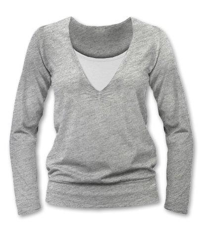 JOŽÁNEK Dojčiace, tehotenské tričko Julie dl. rukáv - sivý melír, L/XL