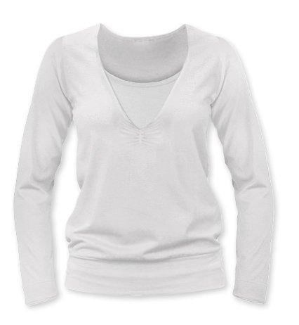 JOŽÁNEK Dojčiace, tehotenské tričko Julie dl. rukáv - smotanová, L/XL