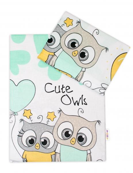 Baby Nellys 2-dielne bavlnené obliečky 135x100 cm, Cute Owls - zelené