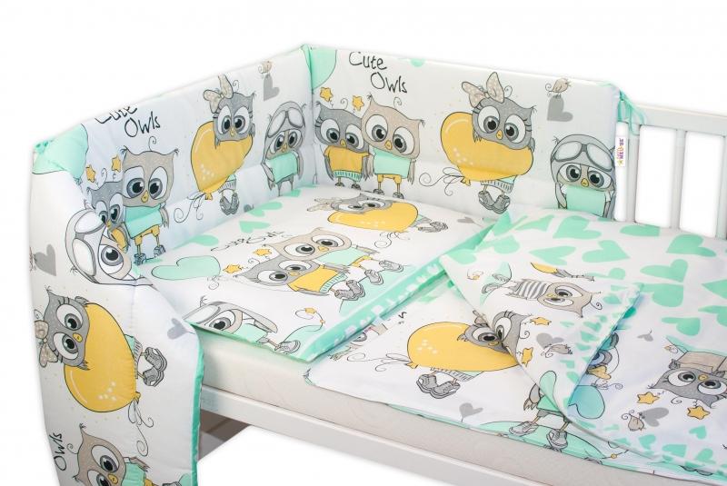 3-dielna sada mantinel s obliečkami  Cute Owls - zelená, 135x100 cm