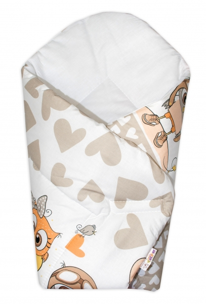 Baby Nellys  Novorodenecká zavinovačka Cute Owls - béžová