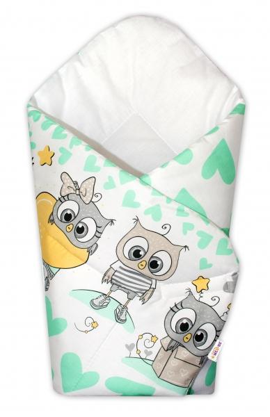 Baby Nellys  Novorodenecká zavinovačka Cute Owls - zelená