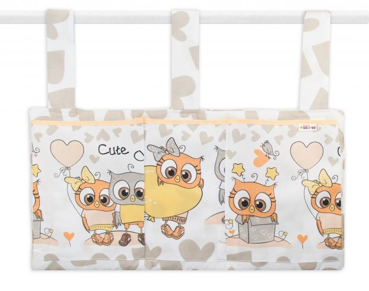 Vreckár na postieľku Cute Owls - béžový