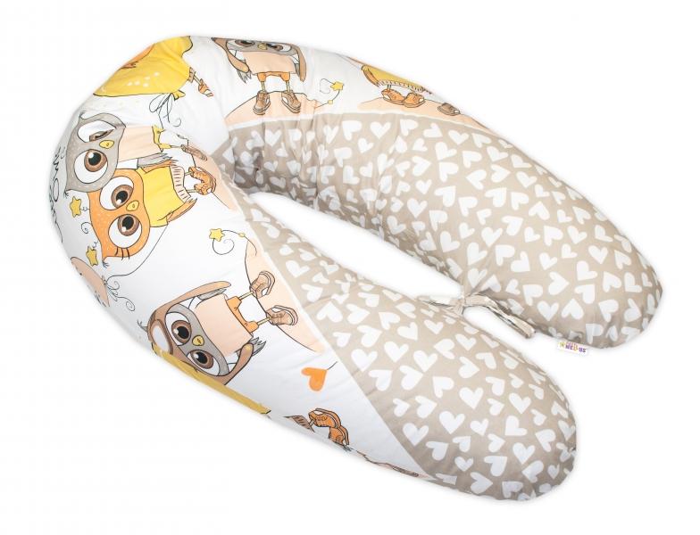 Baby Nellys Dojčiace vankúš - relaxačná poduška Multi Cute Owls - béžový