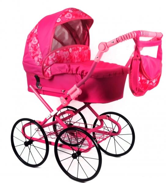 NESTOR Detský kočík pre bábiky s retro kolesami - rúžový, srdiečka