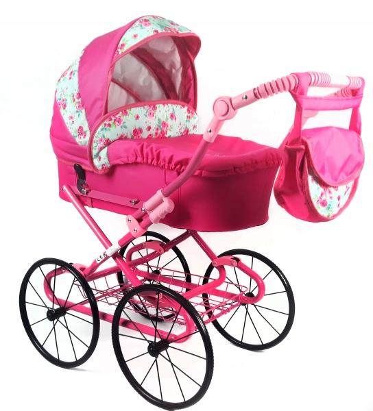 Detský kočík pre bábiky s retro kolesami - ružový, rože