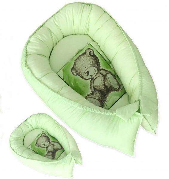 Baby Nellys Obojstranné hniezdočko, kokon Teddy  80x45x15cm - zelené
