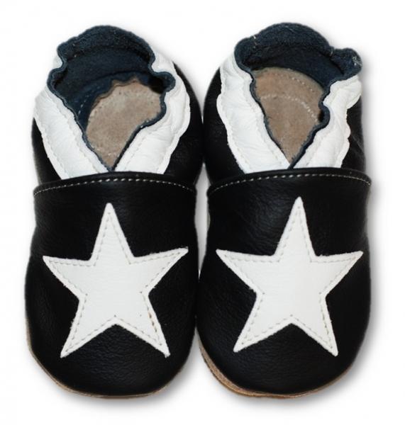 Kožené mäkučké topánočky s bielou hviezdou - čierne-0/6 měsíců