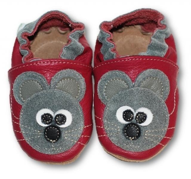 Kožené mäkučké topánočky s myškou - malinové-0/6 měsíců
