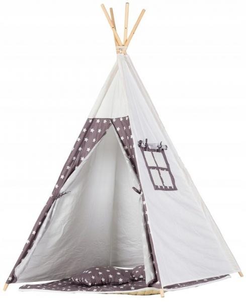 Eco toys Stan pre deti teepee, típí s výbavou - biely, šedý s hviezdičkami
