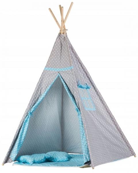 Stan pre deti teepee, típí s výbavou - sv. sivá s bodkami, sv. modrá