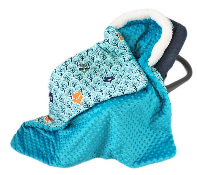 Baby Nellys Bavlnená obojstranná deka 3v1 s minky a kožuš., 90x90 cm, lesík tyrkys/mata