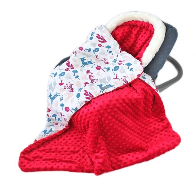 Baby Nellys Bavlnená obojstranná deka 3v1 s minky a kožušinkou, 90x90 cm, srnky
