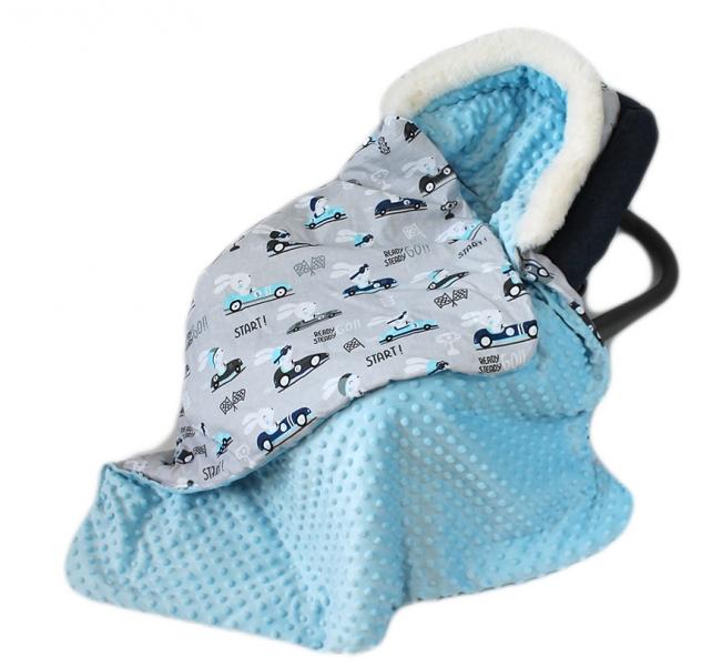Baby Nellys Bavlnená obojstranná deka 3v1 s minky a kožušinkou, 90x90 cm, závody v šedé