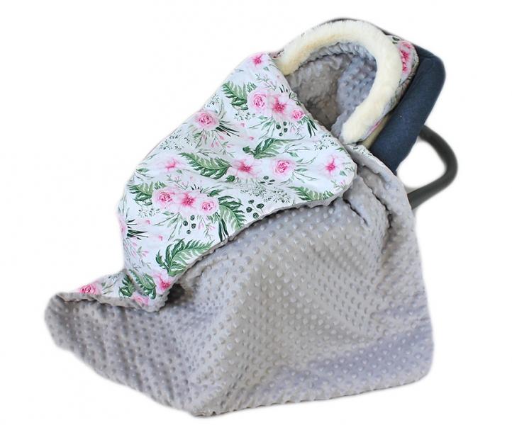 Baby Nellys Bavlnená obojstranná deka 3v1 s minky a kožušinkou, 90x90 cm, kvetinky