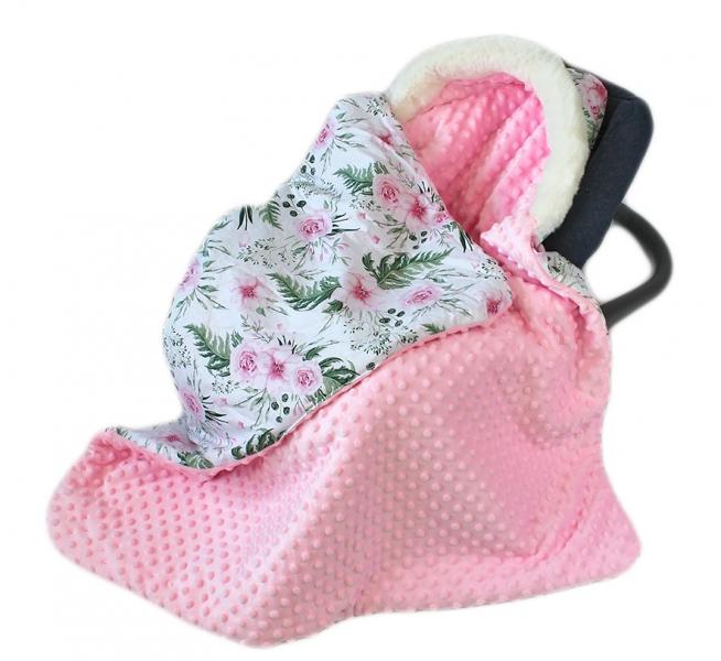 Baby Nellys Bavlnená obojstranná deka 3v1 s minky a kožušinkou, 90x90 cm, kvetinky pink