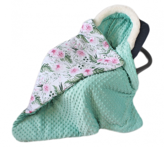 Baby Nellys Bavlnená obojstranná deka 3v1 s minky a kožušinkou, 90x90 cm, kvetinky mint