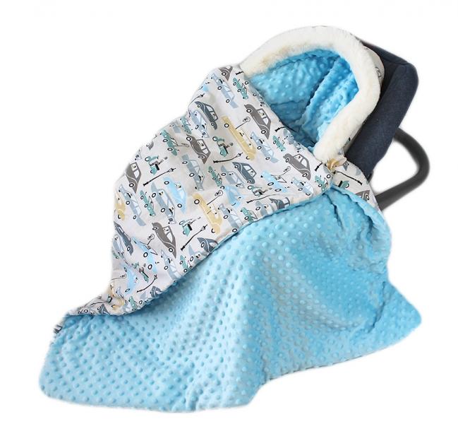 Baby Nellys Bavlnená obojstranná deka 3v1 s minky a kožušinkou, 90x90 cm, autíčka