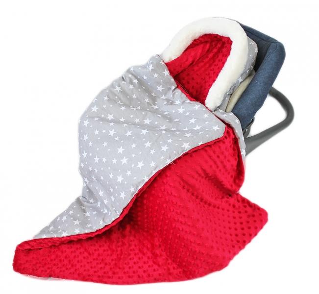 Baby Nellys Bavlnená obojstranná deka 3v1 s minky a kožušinkou, 90x90 cm, stars v šedé