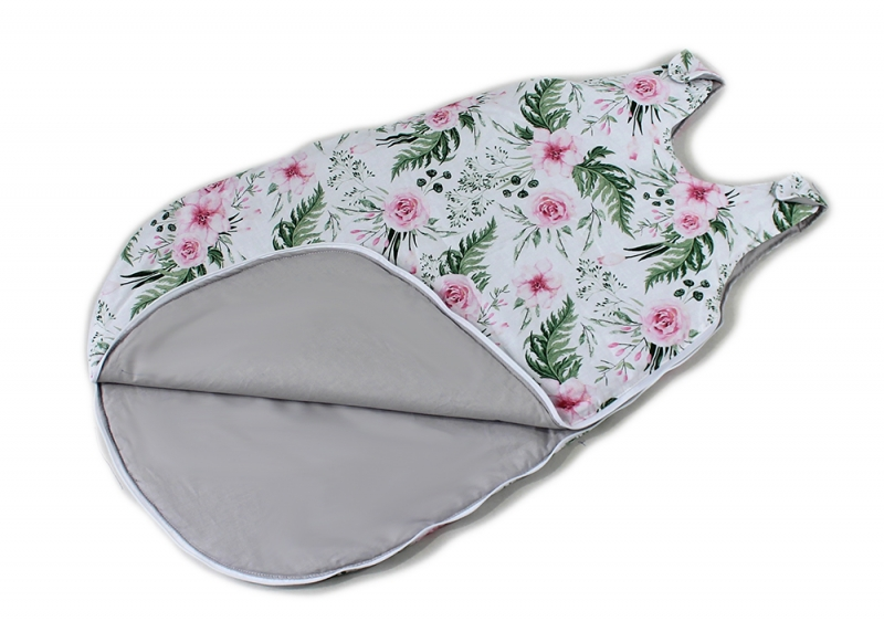 Baby Nellys Bavlnený spací vak Květinky - vnitřek šedý, 48x80cm
