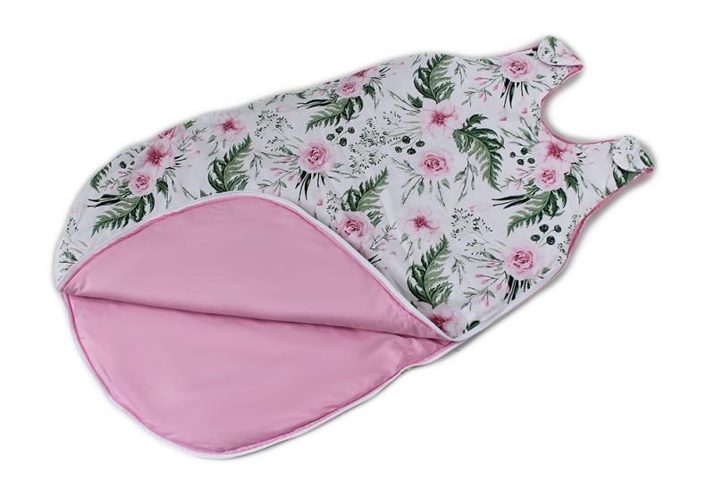 Baby Nellys Bavlnený spací vak Květinky - vnitřek růžový, 48x80cm