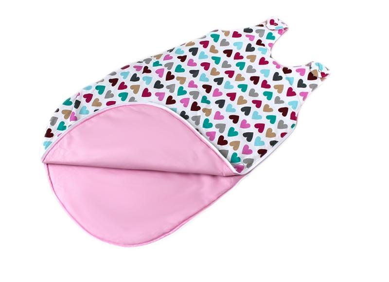 Baby Nellys Bavlnený spací vak Srdíčka - vnitřek růžový, 48x80cm