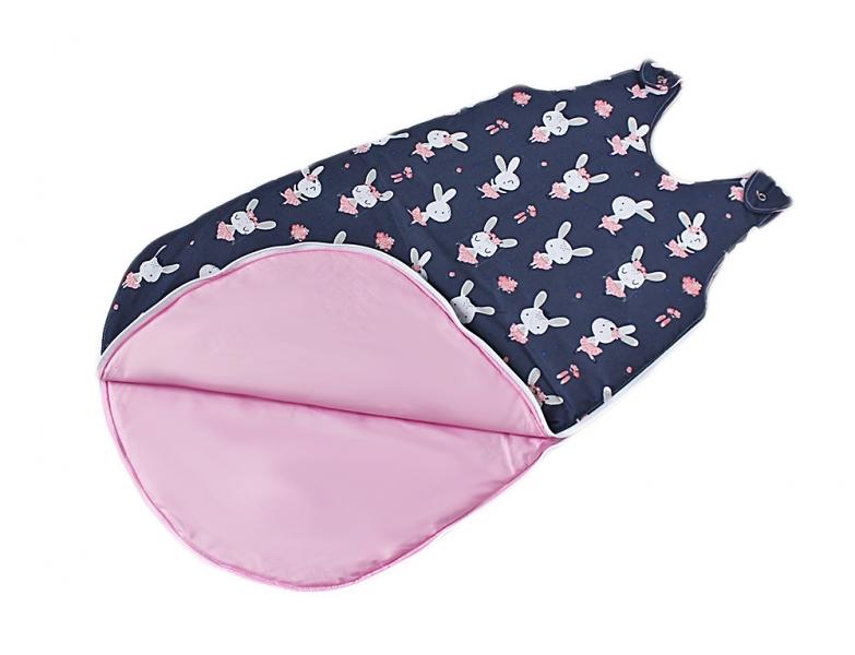 Baby Nellys Bavlnený spací vak Králíčci - vnitřek růžový, 48x80cm