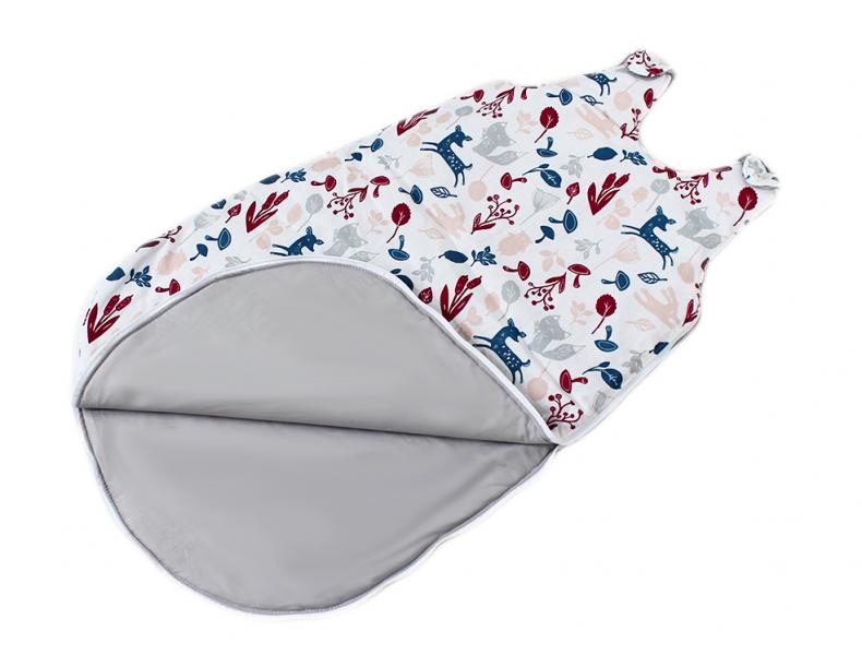 Baby Nellys Bavlnený spací vak Lesné zvieratka - vnútro sivé, 48x80cm