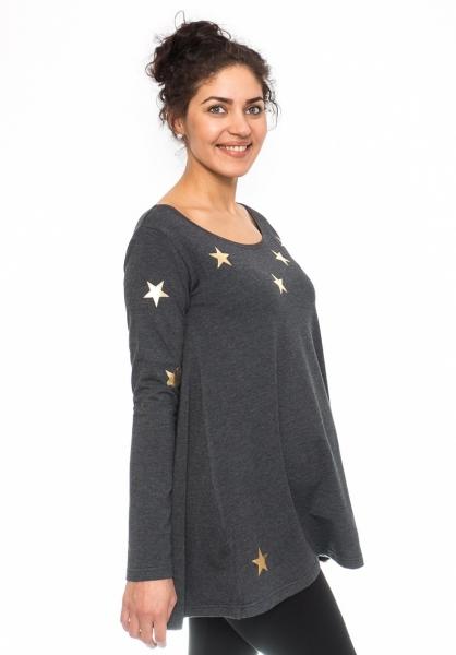 Tehotenská tunika voľná Star - grafit