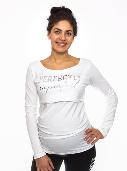 Tehotenské, dojčiace tričko Perfektly - biele