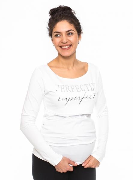 Be MaaMaa Tehotenské, dojčiace triko Perfektly - biele, veľ. M-M (38)