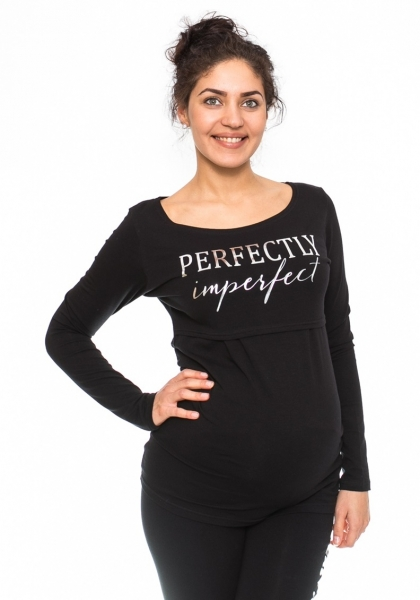 Tehotenské, dojčiace triko Perfektly - čierne, veľ. S-S (36)