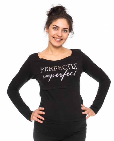 Be MaaMaa Tehotenské, dojčiace triko Perfektly - čierne, veľ. S