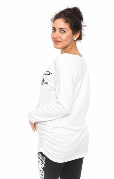 Tehotenské tričko, mikina Kalibri - biele