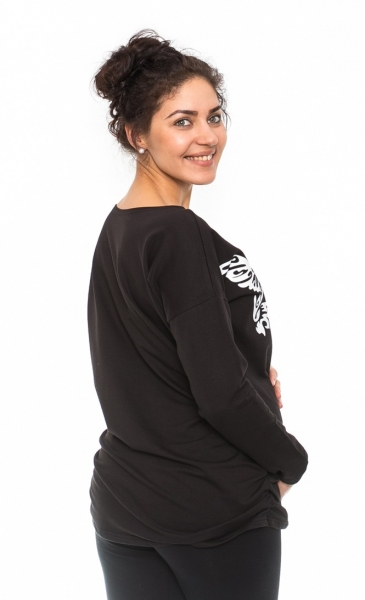 Tehotenské tričko, mikina Kalibri - čierne