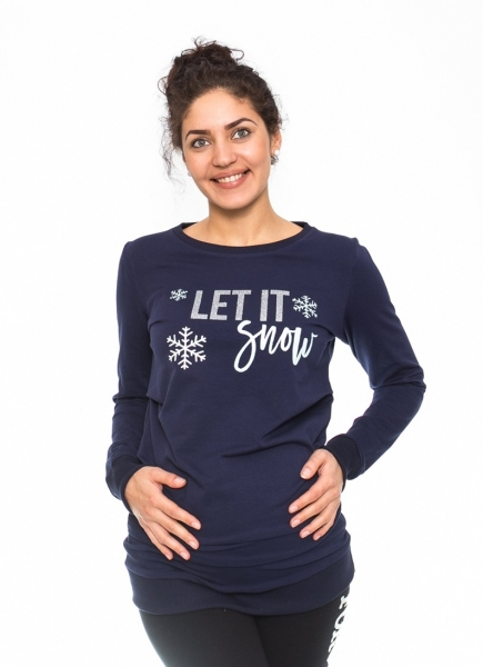 Tehotenské tričko, mikina Let it Snow - granátové