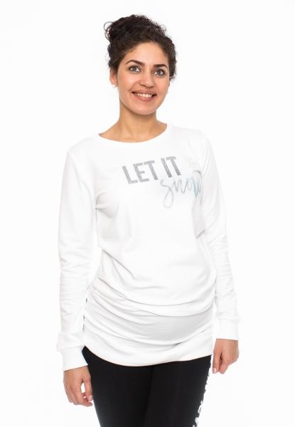 Tehotenské tričko, mikina Let it Snow - biele