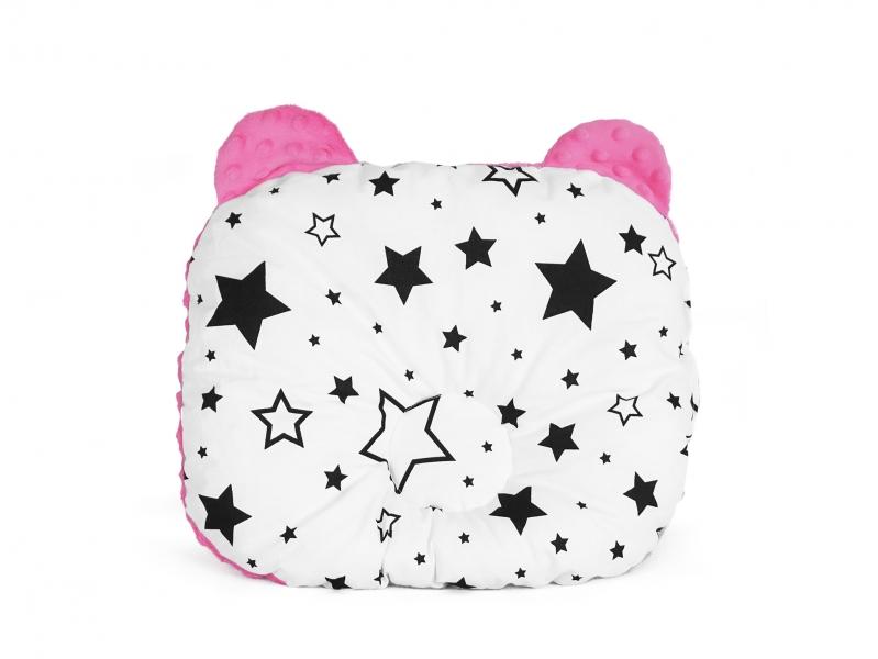 Baby Nellys Obojstranný vankúšik s uškami, 30x35cm - Hviezdy a hviezdičky, Minky ružová