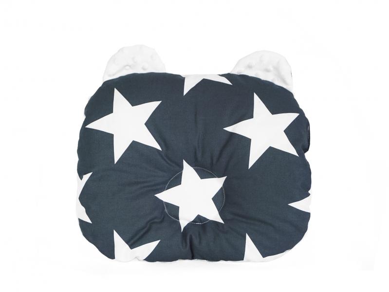 Baby Nellys Obojstranný vankúšik s uškami, 30x35cm - Hviezdy, Minky biela